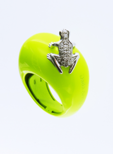 Anello Happy Frog in cataforesi Fluo giallo, oro bianco e diamanti