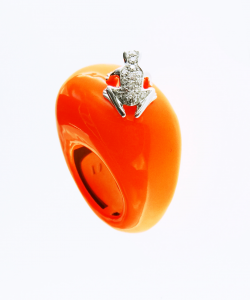 Anello Happy Frog in cataforesi Fluo arancio, oro bianco e diamanti