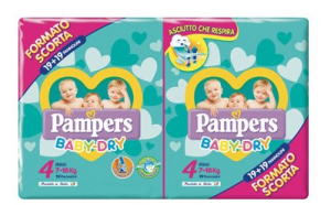 PANNOLINI PAMPERS BABY DRY DUO MAXI TG.4 (X38) 2020 273055 FATER