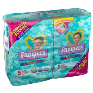 PANNOLINI PAMPERS BABY DRY DUO JUNIOR TG.5 (X34) 2020 2730056 FATER
