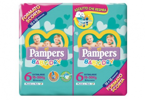 PANNOLINI PAMPERS BABY DRY DUO XL TG.6 (X30) 2020 2730057 FATER