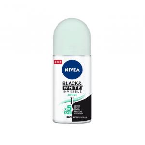 Nivea Black & White Invisible Active Deodorante Roll On 50ml