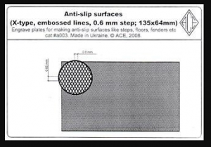 Anti-slip surfaces X-type