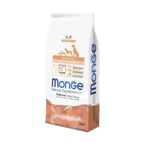 MONGE ALL BREED PUPPY AND JUNIOR MONOPROTEIN SALMONE E RISO