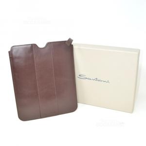 Tablet Case Santoni In True Leather Brown 11 21x26cm