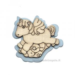 Applicazione Unicorno Celeste in legno 4 cm - Decorazioni battesimo bimbo