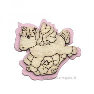 Applicazione Unicorno Rosa in legno 4 cm - Decorazioni battesimo bimba