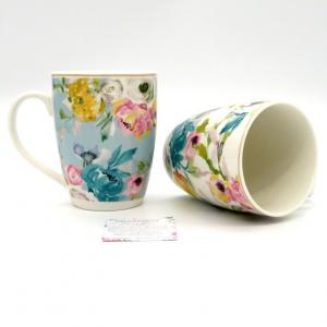 Tazze mug porcellana Paradise fiori 2pz scatola regalo