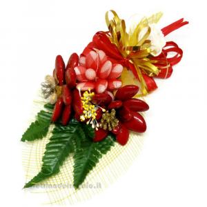 Decorazione natalizia margherite rosse Fiori di confetti Sulmona 23x16x8 cm Handmade - Italy