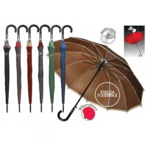 Ombrello Automatico con 12 Stecche In Fibra di Vetro Tinta Unita