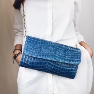Borsa colore  jeans blu | Pochette in pelle