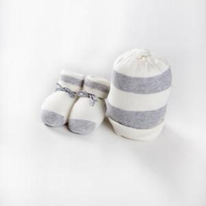 Cappellino e scarpine cotone caldo panna grigio