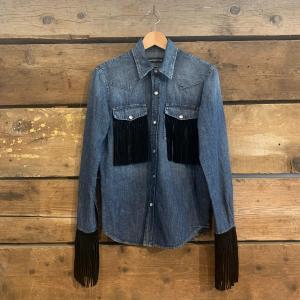 Camicia Department 5 in Jeans con Frange in Velluto Nere