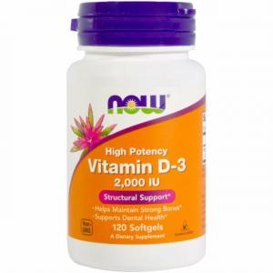 Now Vitamina D-3 2000 Ui Alta Potencia 120 Perlas