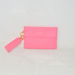 Clutch Bag Canciani Faux Leather 24x16cm Fuxia