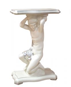 Gueridon Tisch mit Holzfigur geschnitzt Top