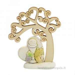 Albero della Vita in legno con Calice in resina 10x12 cm - Bomboniera comunione
