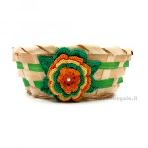 Cestino in bambù verde con fiori ad uncinetto 6 cm H - Italy