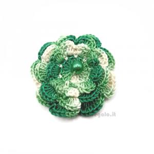Set 5 pz - Fiore per applicazioni verde ad uncinetto 5,5 cm Handmade - Italy