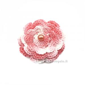 Set 5 pz - Fiore per applicazioni rosa ad uncinetto 5,5 cm Handmade - Italy