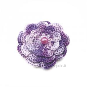 Set 5 pz - Fiore per applicazioni lilla ad uncinetto 5,5 cm Handmade - Italy