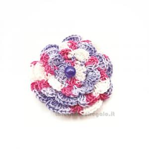 Set 5 pz - Fiore per applicazioni lilla, rosa e bianco ad uncinetto 5,5 cm Handmade - Italy