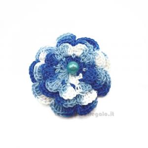Set 5 pz - Fiore per applicazioni blu ad uncinetto 5,5 cm Handmade - Italy