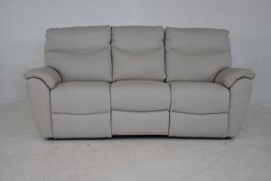 ALLAN - Divano relax in pelle grigio chiaro a 3 posti di cui 2 con meccanismi recliner elettrici