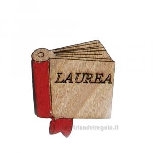Applicazione libro Laurea in legno 5 cm - Decorazioni laurea
