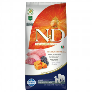 FARMINA N&D PUMPKIN ADULT MEDIUM E MAXI ZUCCA, AGNELLO E MIRTILLO GRAIN FREE