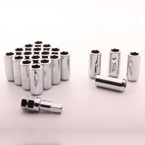 Set of SILVER LONG imbus lug nuts 12x1,25 + Key