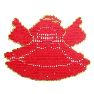 CENTRINO a forma di angelo rosso e oro per Natale all'uncinetto