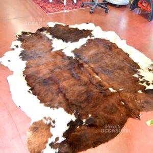 Tappeto Vero Pelo Mucca190x180cm Bianco/marrone
