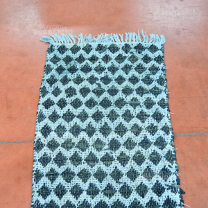 Tappeto Intrecciato Verde/nero In Pelle 56x90