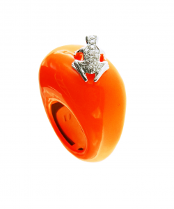 Anello in cataforesi Fluo arancio, oro bianco e diamanti