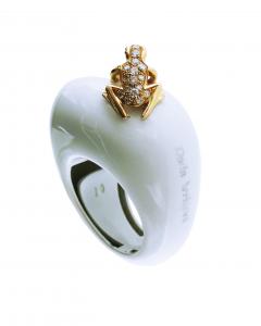 Anello base grande cataforesi bianca, oro rosa 18k e diamanti