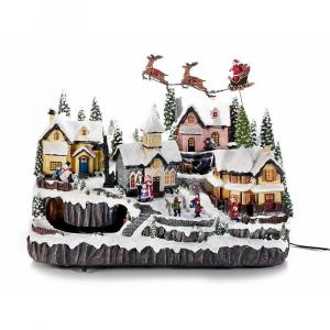 Paesaggio di Natale con movimento luci bianco caldo e musica
