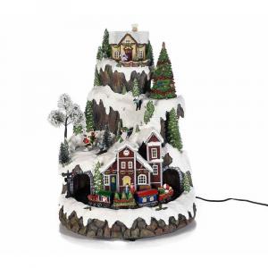 Paesaggio di Natale girevole con movimento luci e musica