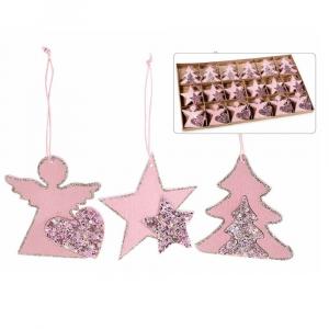72 decorazioni di Natale in legno da appendere con glitter in espositore