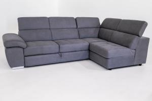ELIOT - Divano letto angolare a carrello o cassettone con poggiatesta relax regolabili