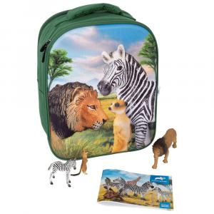 Zaino Scuola Set da gioco 3D Animali della savana Animal Planet