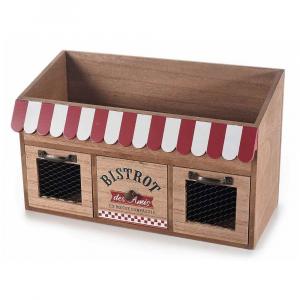 Porta tea spezie in legno con 3 cassetti