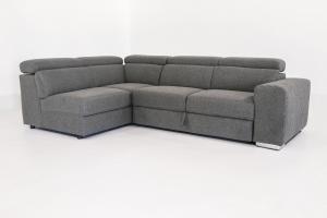 DEFOREST - Divano letto angolare a cassettone o carrello con poggiatesta reclinabili in tessuto e braccioli trapuntati