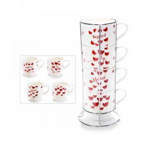 4 tazze porcellana decori papaveri con espositore in metallo