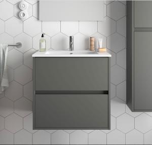 Mobile lavabo da 71cm con 2 cassetti grigio opaco mod. Nori