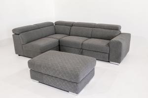 DEFOREST - Divano letto angolare a cassettone o carrello con poggiatesta reclinabili in tessuto e braccioli trapuntati più pouf contenitore