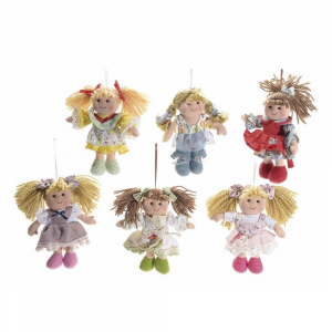 Set 6 bamboline mini in stoffa imbottita da appendere