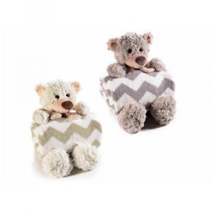 Coppia di coperte con orsetto gambelunghe in peluche