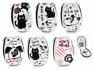 Astuccio manicure con 6 accessori in custodia in eco pelle Animal Best Friends (100117)