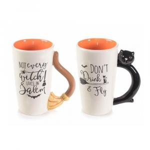 Set due tazze mug scopa gatto Halloween